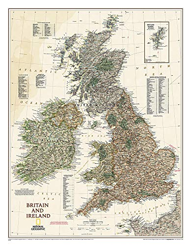 National Geographic: Britain and Ireland Executive Wall Map (23.5 x 30.25 inches) (National...
