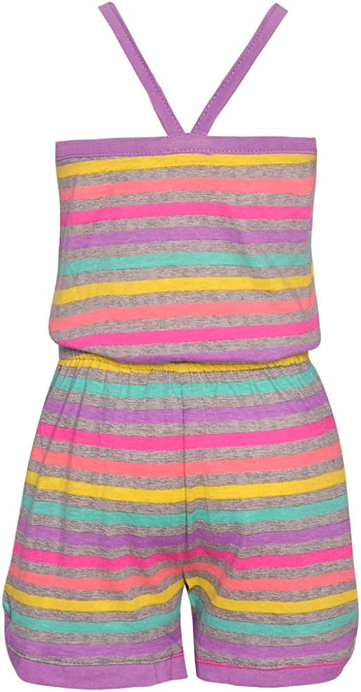 Real Love Little Girls Purple Multi Color Stripe Tie Casual Romper 2T-6X