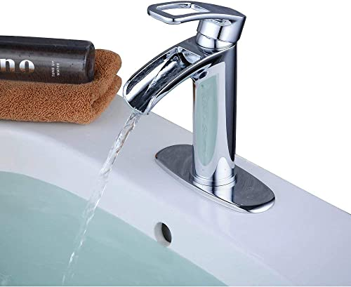 Vessel Sink Faucet Single Handle With Deck Cover Plate,Chrome Finish,Beelee BL6080P