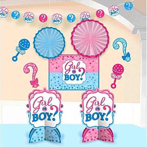 Gender reveal deluxe party pack serves 16 for Baby shower decoration packs