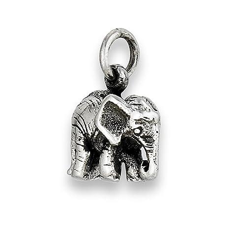 5a12dbef2688 Colgante de elefante de bebé de plata de ley 925 con detalle de pantorrilla  realista