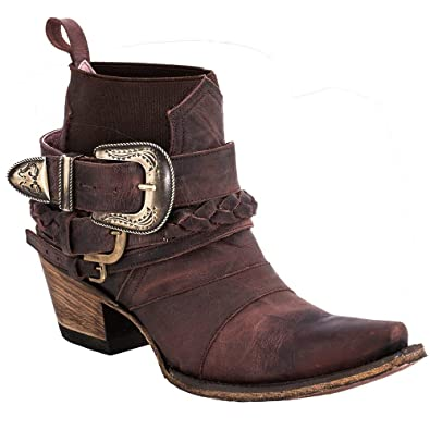 finest selection cf5a2 282cb Junk Gypsy Women s by Lane HWY 237 Distressed Booties Snip Toe Wine ...