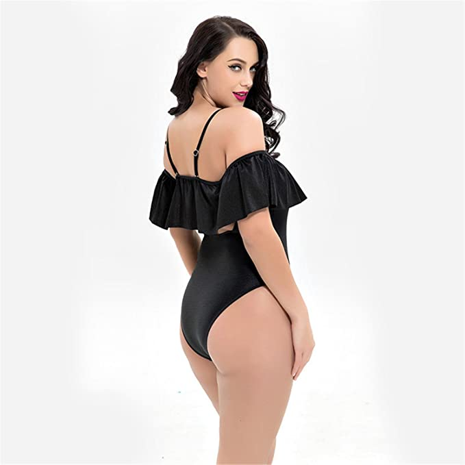03d55a5cd4 Leories Womens One Piece Bikini Lace up Ruffled Off Shoulder Flounce  Monokini Bathing Suits at Amazon Women's Clothing store: