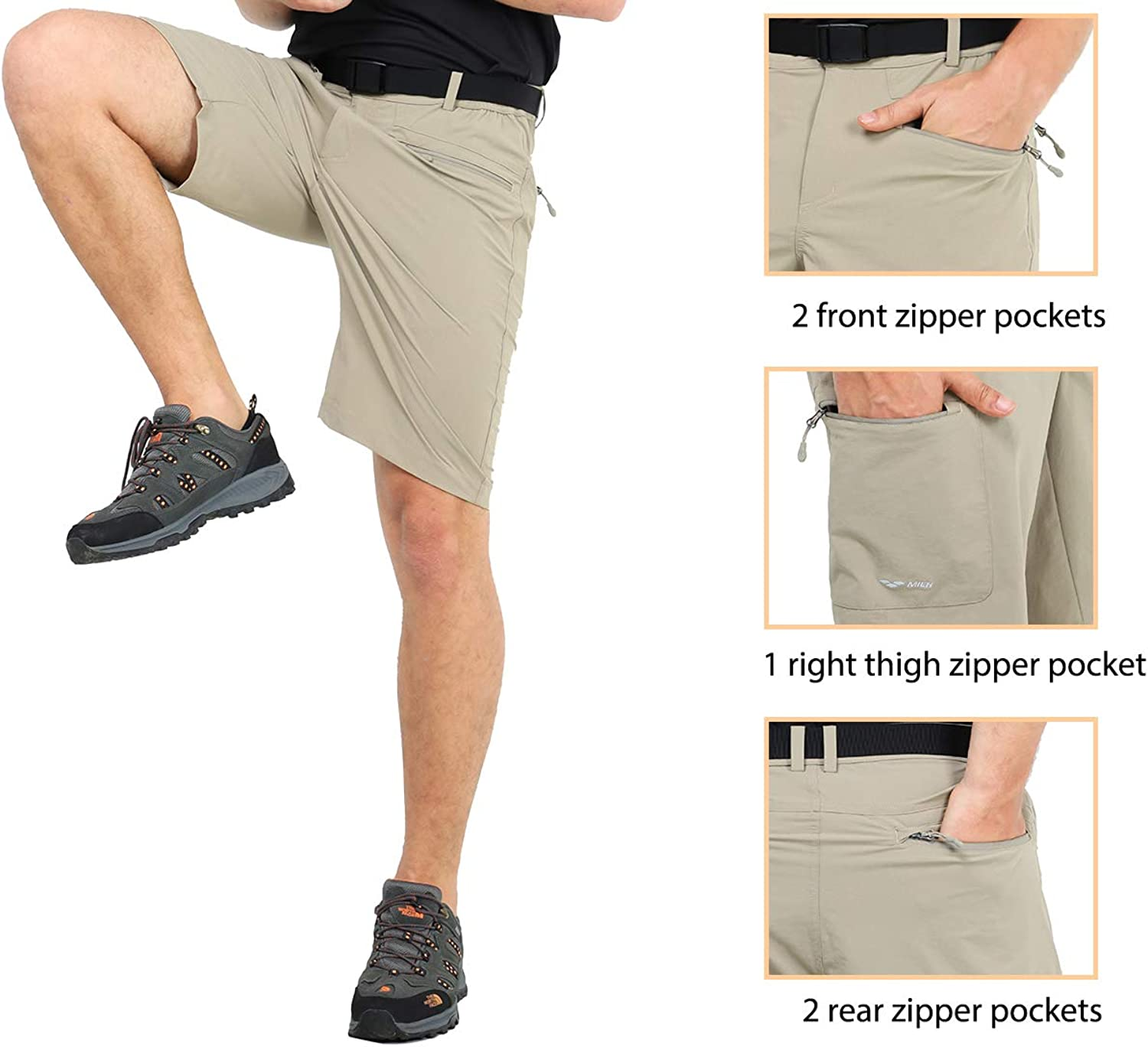 MIER Mens Quick Dry Cargo Shorts Lightweight Stretch Travel Hiking Shorts with 5 Zipper Pockets Water Resistant