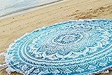 Blue Beach Round Roundie Bohemian Hippie Style Mandala Design By Bohomandala