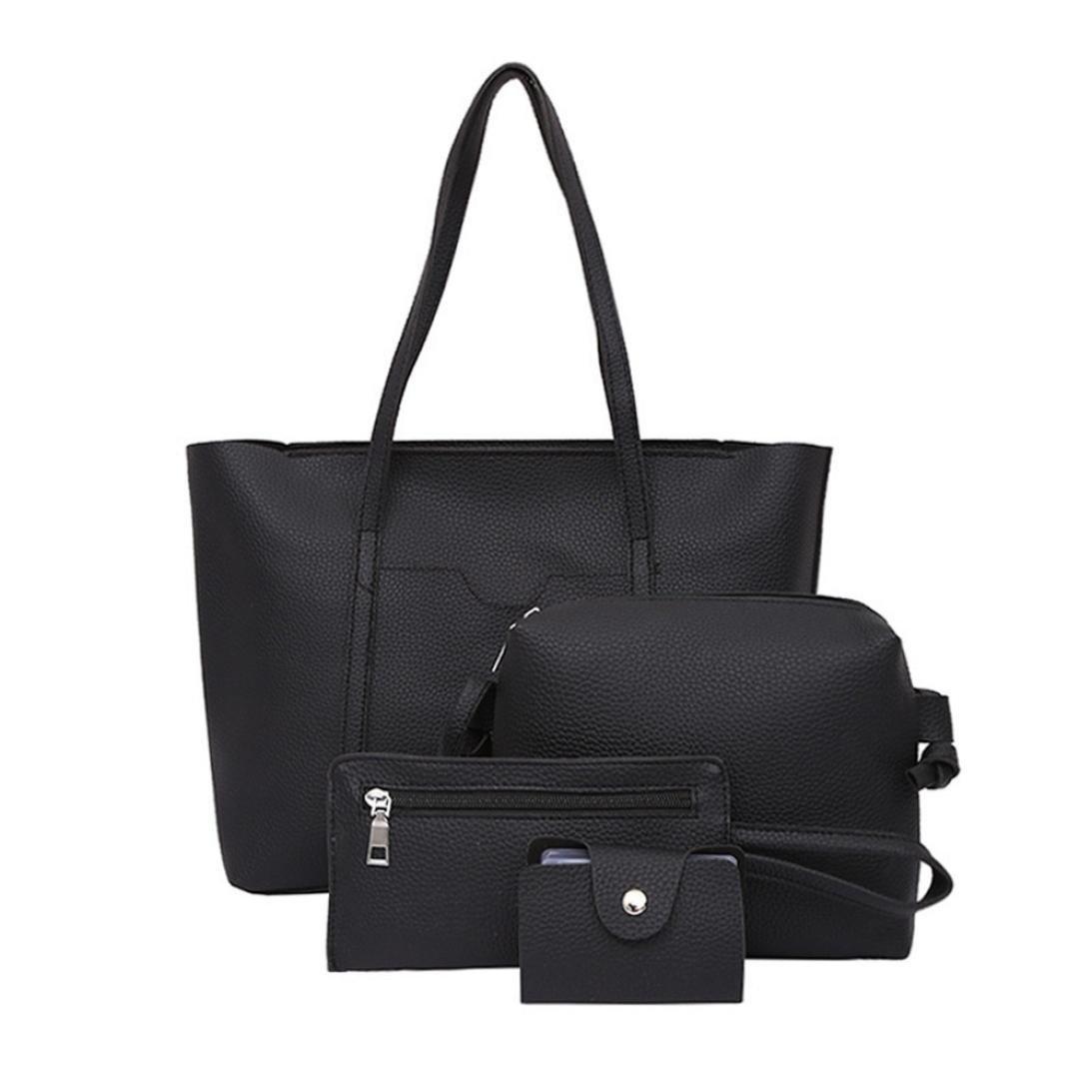 891b0a48ea1e Clearance Sale! Women Four Set Handbag Shoulder Bags Four Pieces Tote Bag  Wallet ❤️ ZYEE