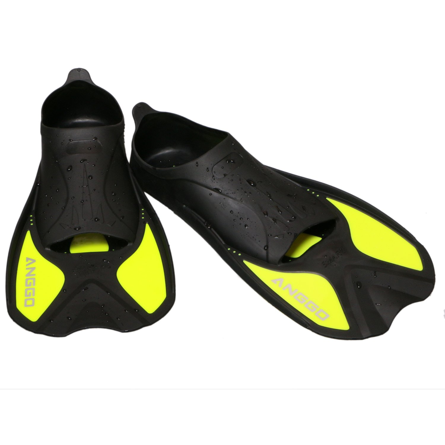 ANGGO Short Dive Fins for Swimming and Snorkeling (Fluorescent Yellow, Small)
