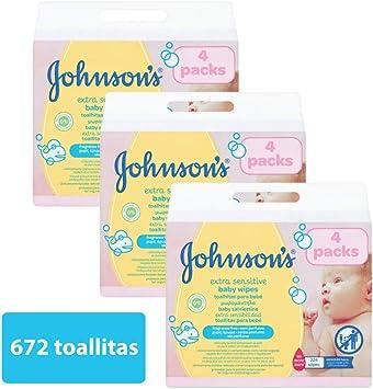 Johnsons baby - Toallitas para bebe Extra sensibilidad, 224 uds (Pack de 3 - 672 toallitas): Amazon.es: Salud y cuidado personal