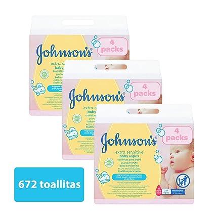 Johnsons Baby - Toallitas para Bebe Extra Sensibilidad - 3 Paquetes de 224 toallitas - [