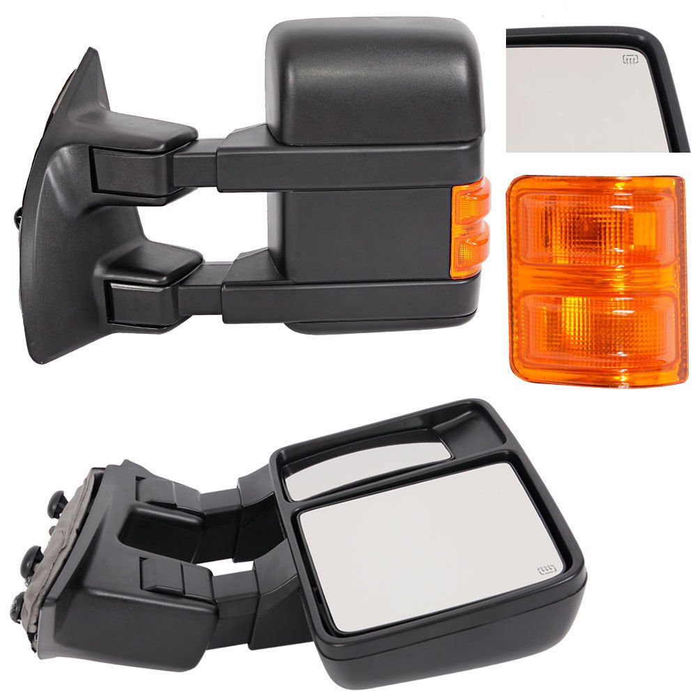 Upgrade Ford Towing Mirrors For 99 07 F250 F350 2009 F450 F550 Factory Wiring Diagram Scehmatics Manual Super Duty Tow Power Heated With Signal Light Both Driver And Passenger