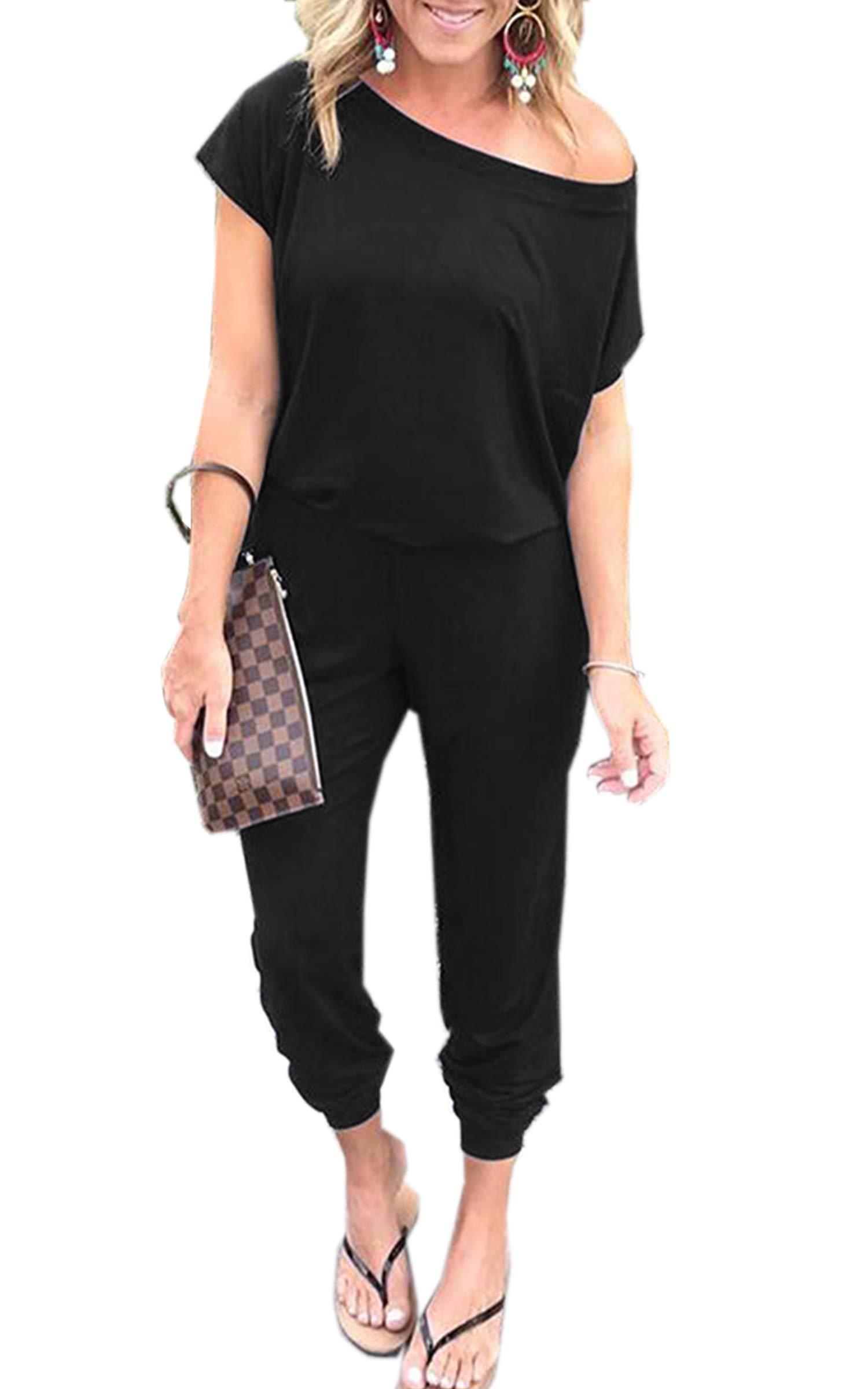 Angashion Women's Jumpsuits - Crewneck One Off Shoulder Short Sleeve Elastic Waist Romper Playsuits with Pockets Black M