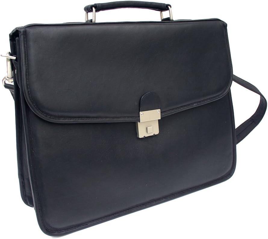 Piel Leather Four Step-Down Portfolio, Black, One Size
