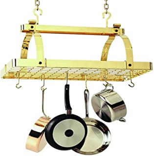product image for Enclume PR1nbwg-BP Classic Rectangle No Center Bar with Grid Premier Ceiling Rack, Brass
