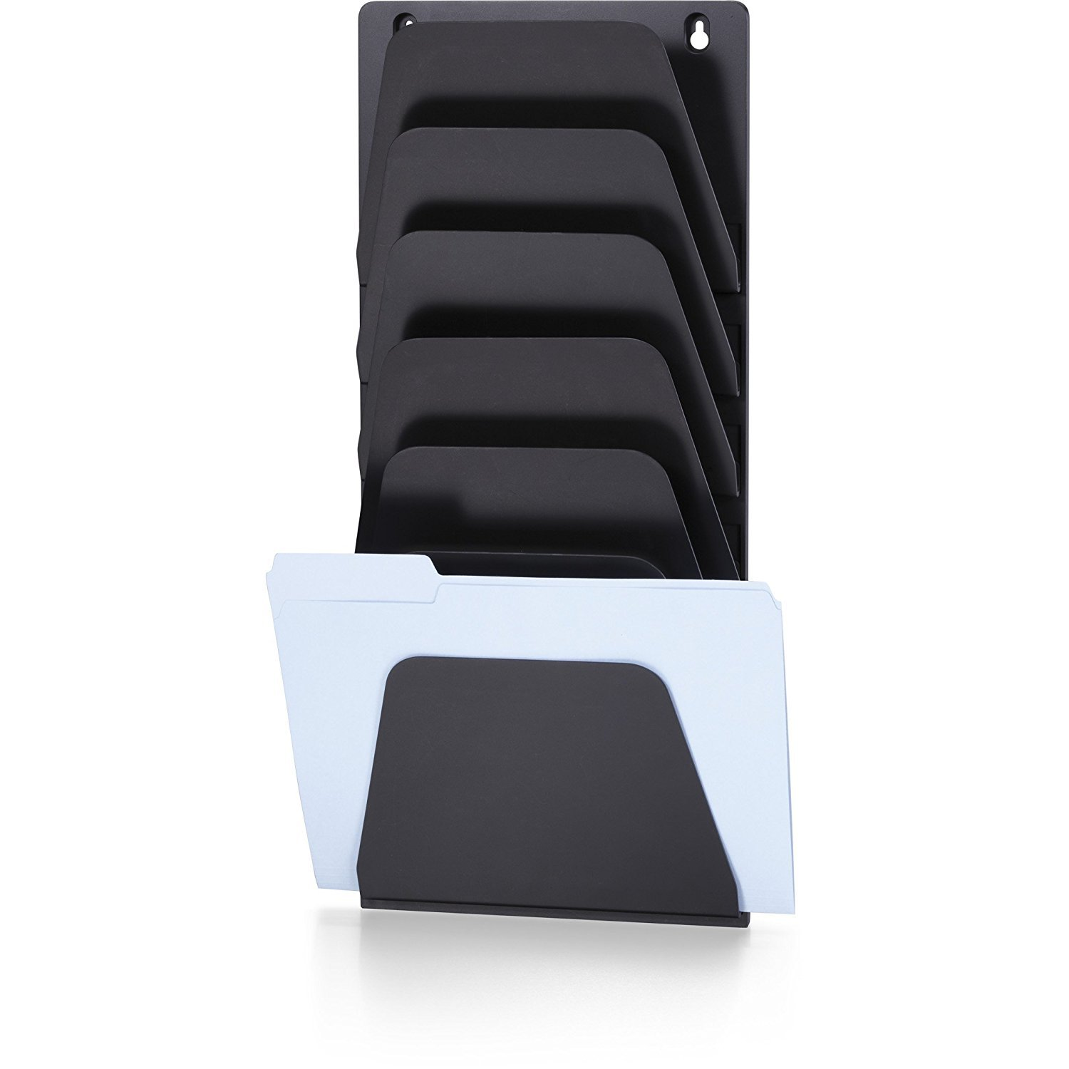 Officemate Wall File Holder, Letter/Legal, 7 Pockets, Black (21505) (Pack of 4)