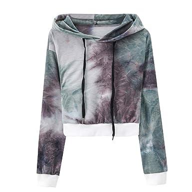 238834656c2da Keliay Women s Sexy Printed Hooded Long Sleeve Short Sweatshirt Hoodies  Tops Blouse at Amazon Women s Clothing store