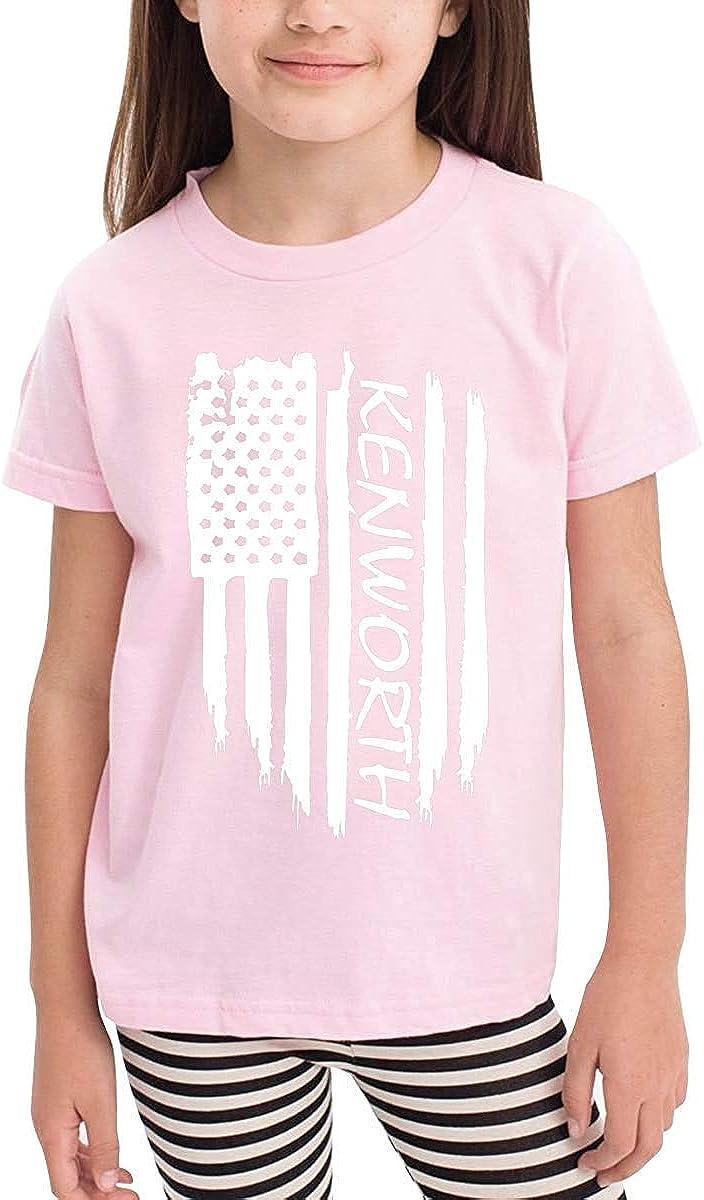 liu chunyans American Flag Kenworth Unisex Youths Short Sleeve T-Shirt Kids T-Shirt Tops Black Pink2T