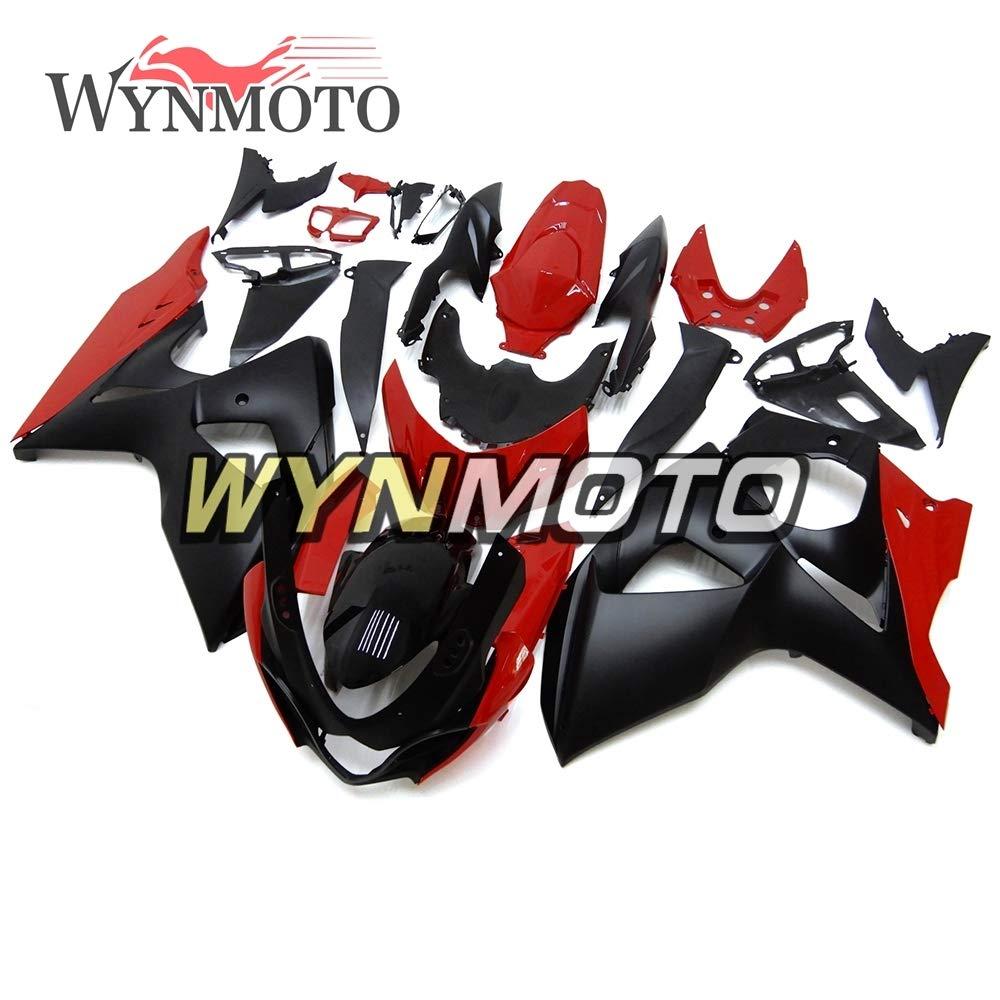WYNMOTO ABS オートバイフル整形スズキ GSXR1000 K9 2009-2016 10 11 12 13 14 15 ボディキットカウリング車体黒赤い船体新しい   B07H7C9LKJ