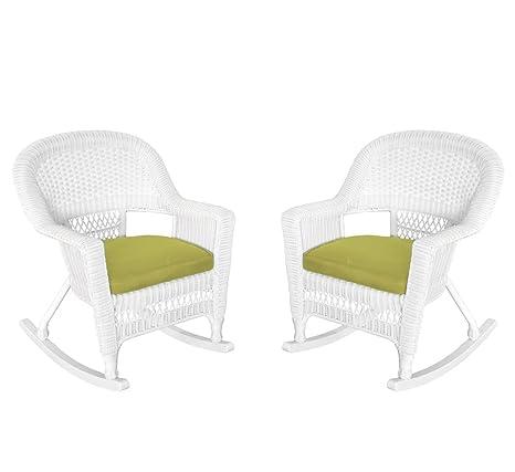 Amazon.com: Rocker silla de mimbre con cojín de verde, set ...