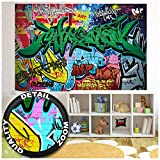 Children's Room Mural - Graffiti Wall Decoration - Colorful Signs Writing Pop Art Street Style Writing Hip Hop Wallpaper Street Art Wall Decor Wallpaper (82.7 x 55 Inch / 210 x 140 cm)