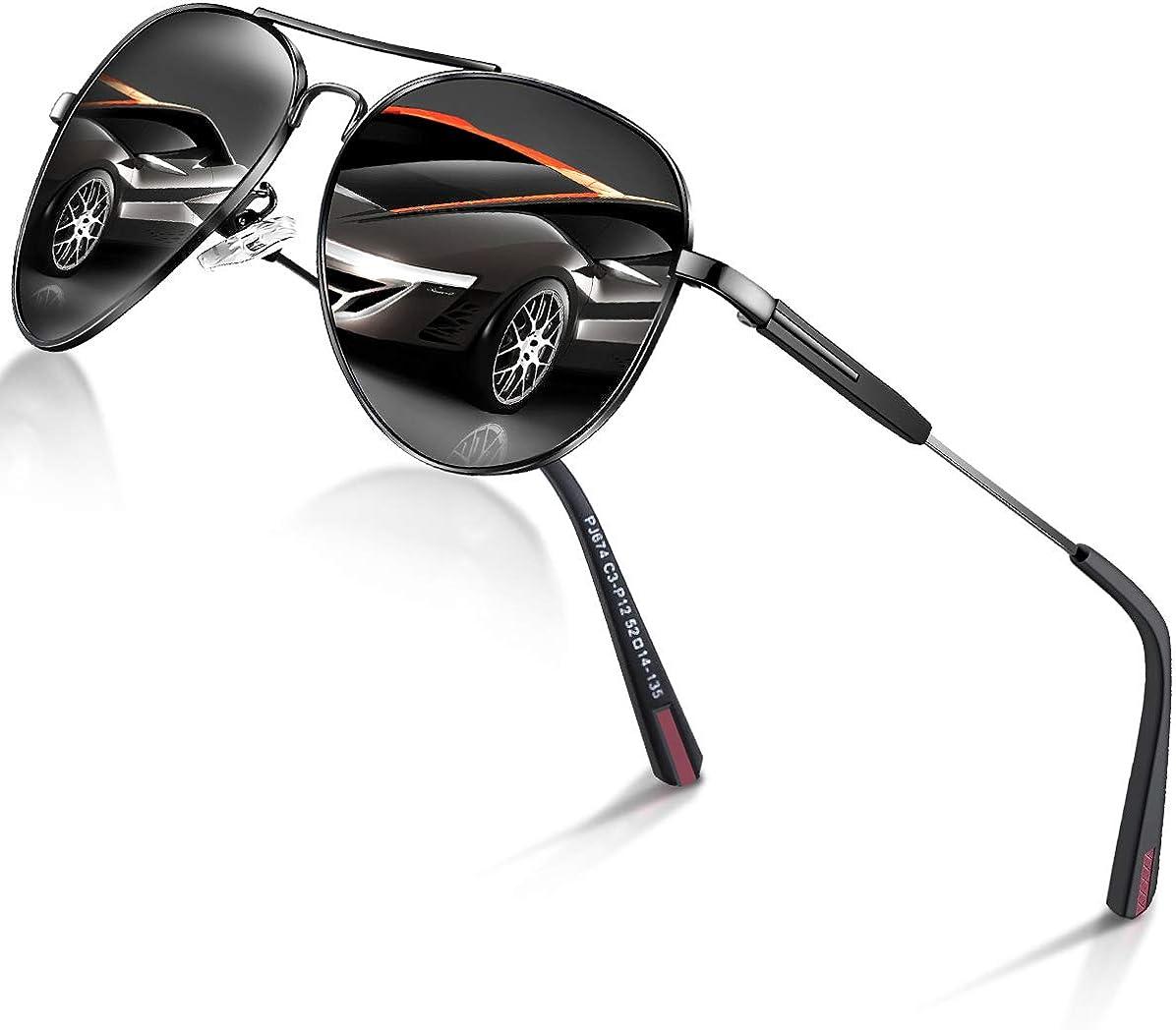DADA-PRO Sonnenbrille Herren Pilotenbrille Damen Polarisiert Verspiegelt Retro Fahren Fahrerbrille UV400 Schutz für Autofahren Reisen Golf Party und Freizeit (Schwarz): Amazon.de: Bekleidung -