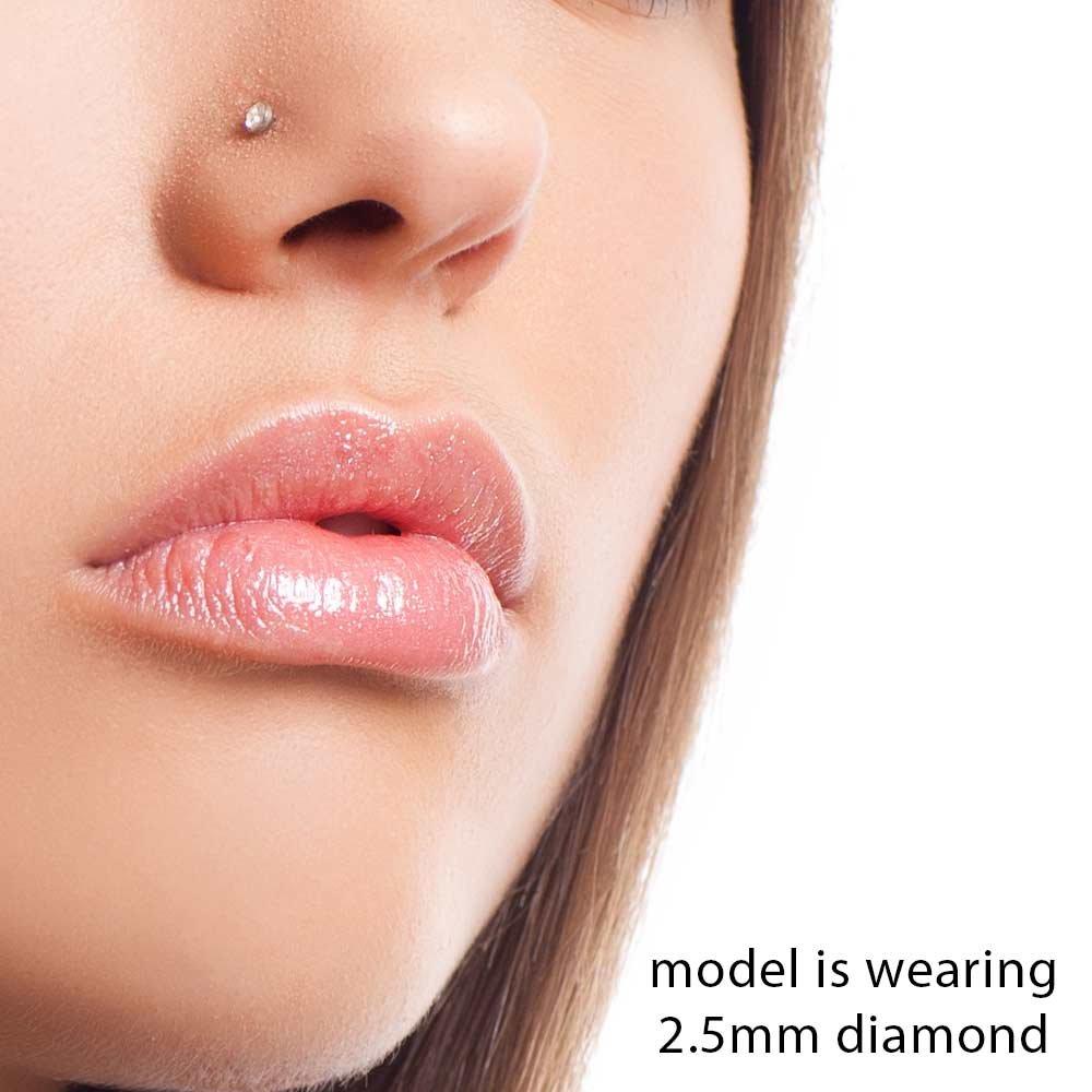 FreshTrends Diamond Nose Stud 14K White Gold Nose Ring Twist Screw 20 Gauge I1 Clarity NSE-P154B