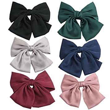 Pidoudou Set Of 6 Big Satin Solid 8 Inch Bow Hair Clips Women Barrettes by Pidoudou