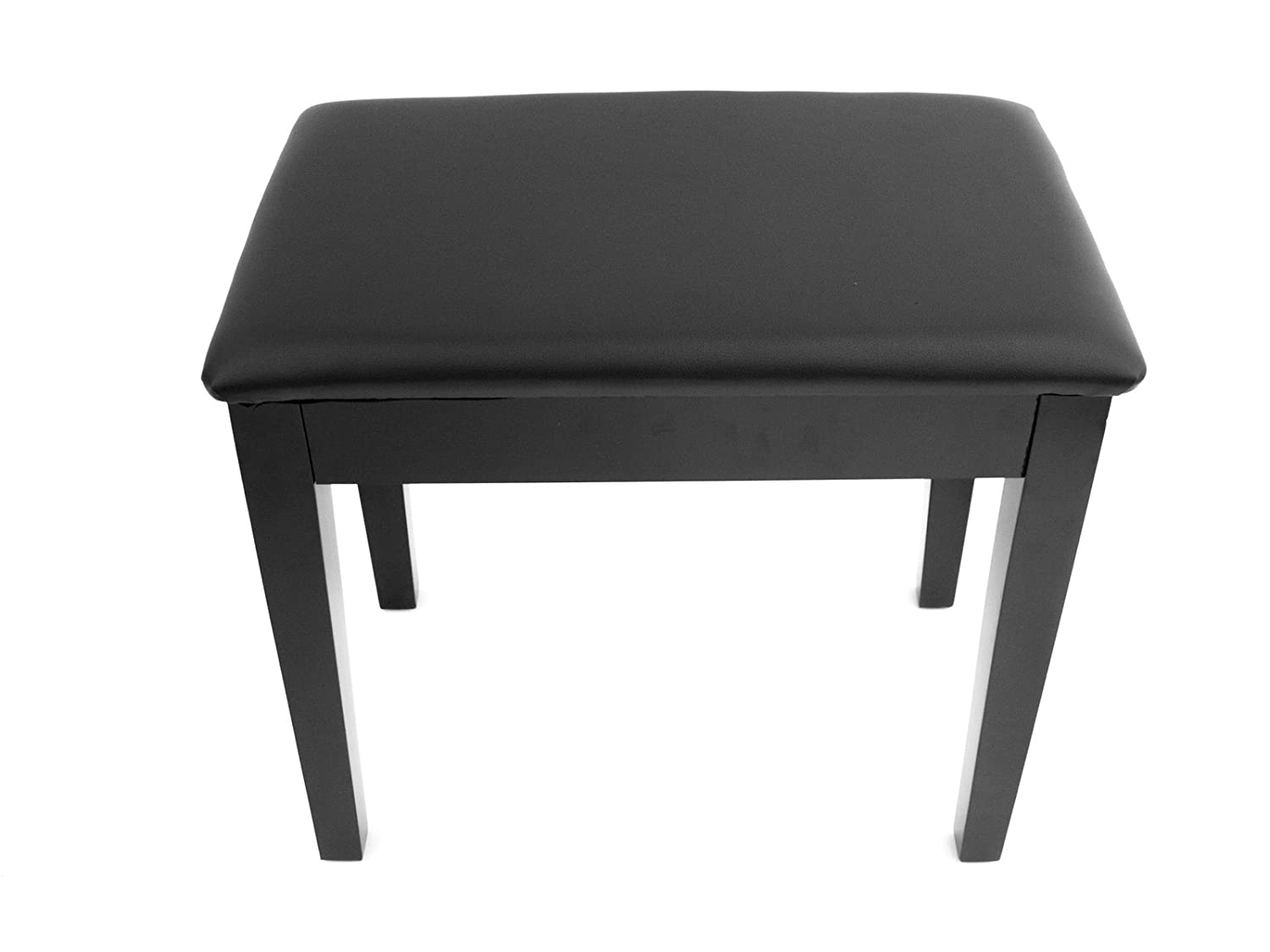 Prelude Black Piano Stool Fixed Height with Storage and Vinyl Top Polished Ebony KB100PE