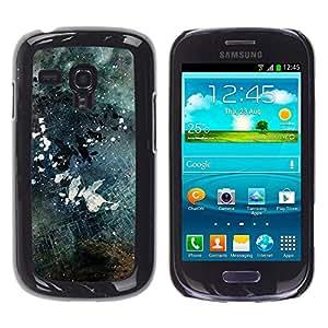 // PHONE CASE GIFT // Duro Estuche protector PC Cáscara Plástico Carcasa Funda Hard Protective Case for Samsung Galaxy S3 MINI 8190 / Negro y blanco Grunge /
