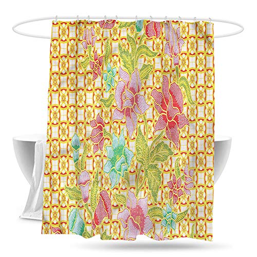 paladen Large Shower Curtain Batik Indonesian Flowers and Leaves Waterproof Colorful Funny W70×L70