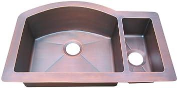 Double Bowl Copper Farmhouse Sink for Kitchen Offset 70/30 ...
