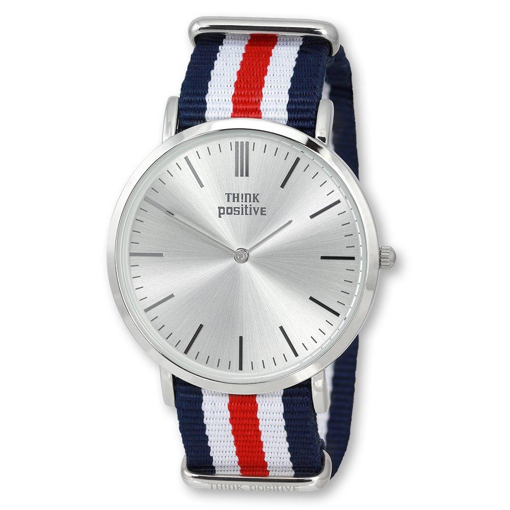 Think Positive Mujer Hombre De Reloj Classic Analog Casual Textil/nailon de pulsera Azul Blanco Rojo Reloj de cuarzo utp3055F