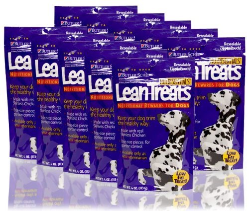 Butler Lean Treats Nutritional Reward for Dogs, (10 Pack/4 oz Resealable Pouches) -