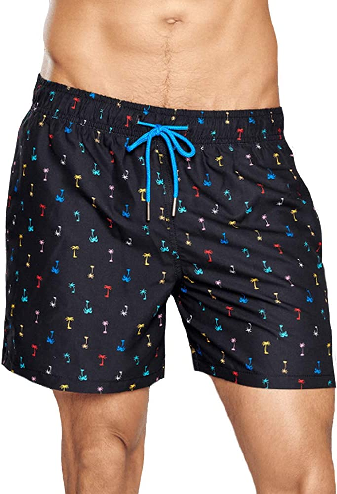 Happy Socks Palm Beach Swim Shorts in Black