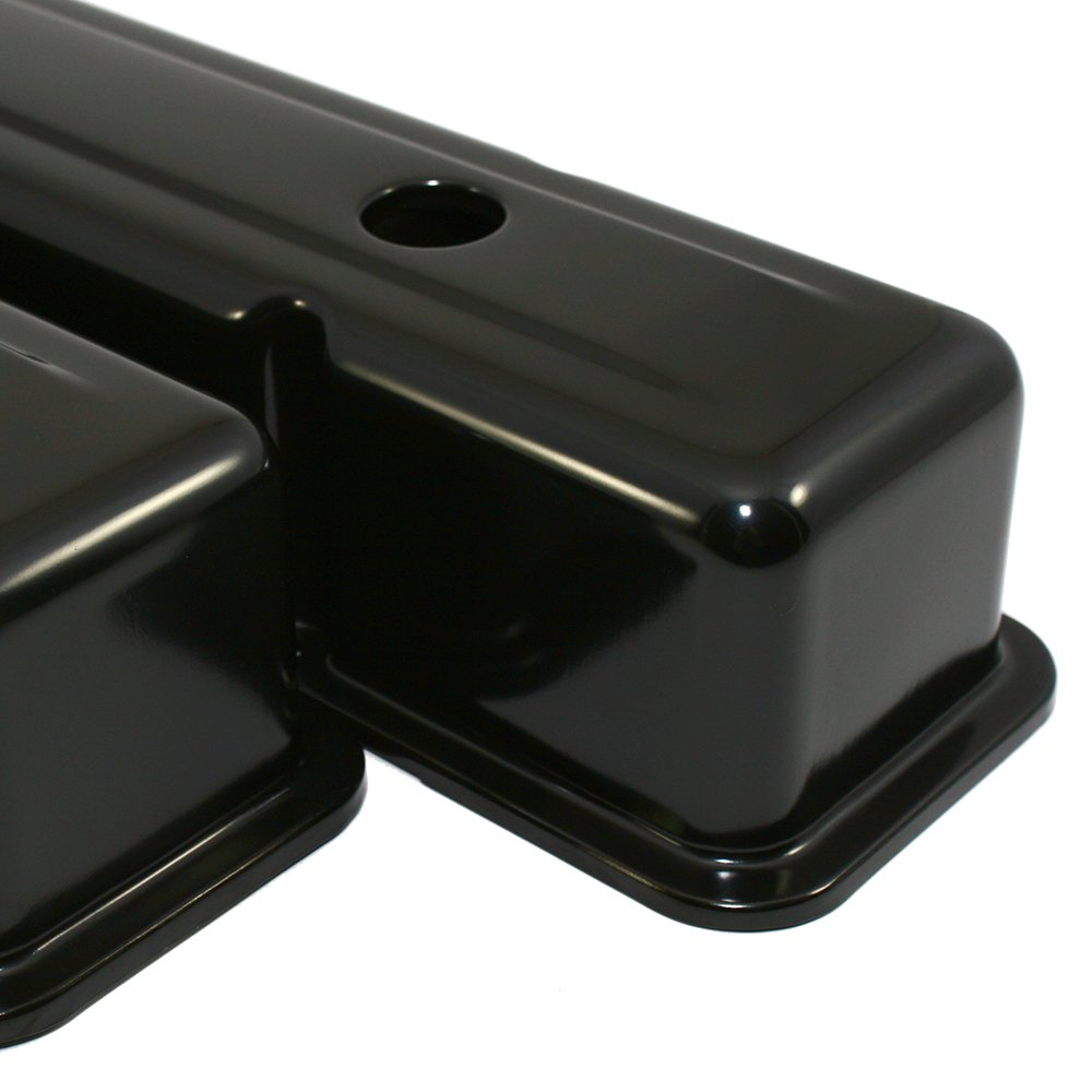 Assault Racing Products A9215BK Small Block Chevy Black Tall Steel Valve Covers SBC 283 305 327 350 400
