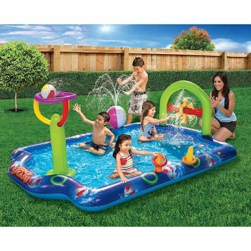 Kids Inflatable Pool. Big Kiddie Blow Up Above Ground Swimming Pool Is Great For Children & Toddlers To Have Outdoor Water Fun With Toys, Slide, Ball & Rings. This Baby Adventure Pool-Light & (Big Surf Water Slide)