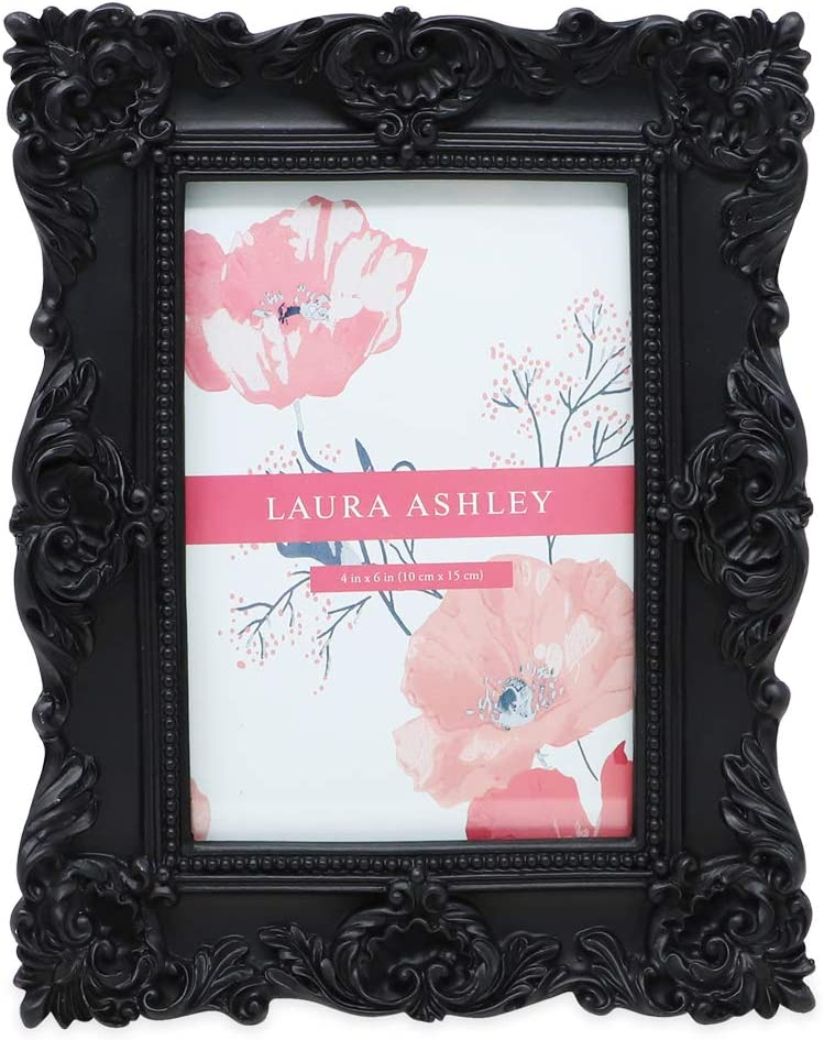 Laura Ashley 4x6 Black Ornate Textured Hand-Crafted Resin Picture Frame with Easel & Hook for Tabletop & Wall Display, Decorative Floral Design Home Décor, Photo Gallery, Art, More (4x6, Black)