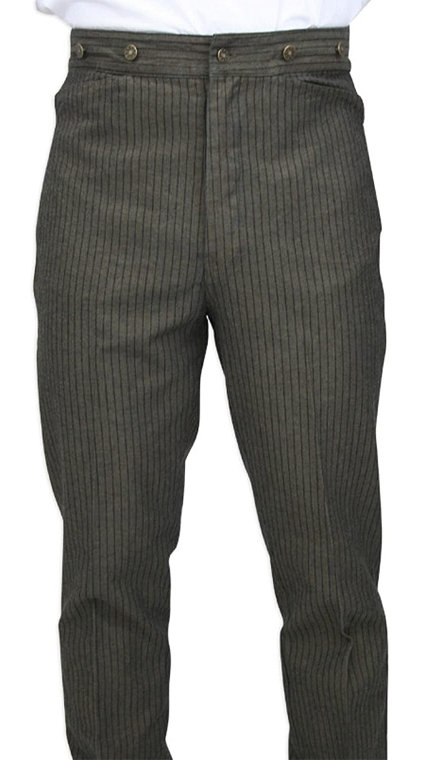 1920s Men's Pants History: Oxford Bags, Plus Four Knickers, Overalls High Waist Cotton Ludlow Striped Trousers $59.95 AT vintagedancer.com