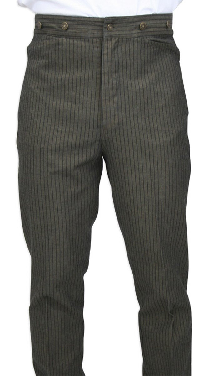 Historical Emporium Men's High Waist Ludlow Cotton Striped Trousers 40 Taupe/Navy