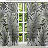 ALAZA 2PCS Window Decoration Sheer Curtain Panels,Tropical Vacation Green Swaying Palms,Window Gauze Curtains Living Room Bedroom Kid's Office Window Tie Top Curtain 55×78 inch Two Panels Set For Sale