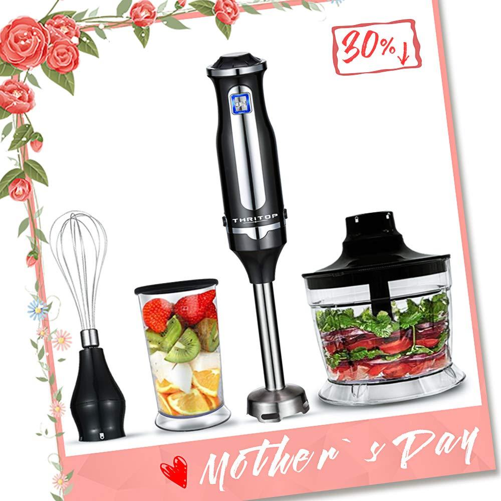 THRITOP Hand Blender, 4-in-1 Immersion Blender,400W Stick Blender Sets, Include Chopper Whisk,BPA Free Beaker Fruit Fish Soups Smoothie Baby Food, black(2 Tpye)
