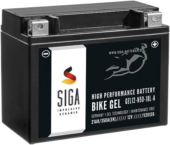 Siga Bike Gel Y50 N18l A Motorradbatterie 12v 21ah 350a En Gel12 N50 18l A Gel Batterie 12v Doppelte Lebensdauer Entspricht C50 N18l A Y50n18l A2 52012 Vorgeladen Auslaufsicher Wartungsfrei Auto