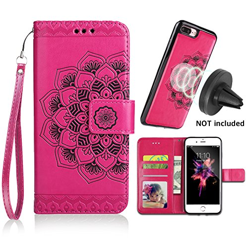 iPhone 8 Plus Case,iPhone 7 Plus Flip Embossed Leather Wallet Case with Protective Detachable Slim Case Fit Car Mount,CASEOWL Mandala Flower Design with Card Slots, Strap for iPhone 7/8 Plus[Hot Pink]