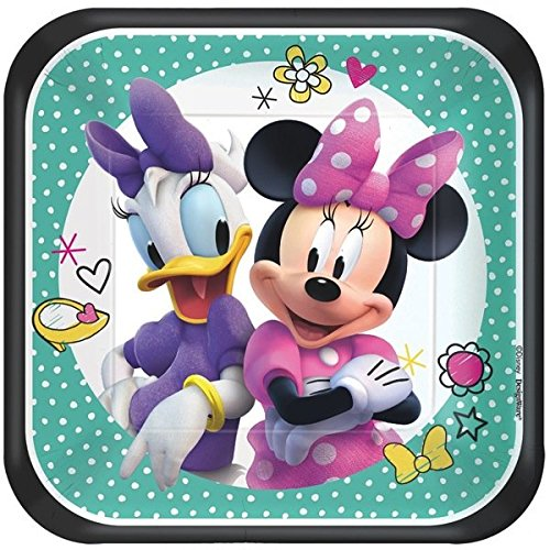 Disney Minnie Dessert Plates Birthday Party Disposable Tableware and Dishware (8 Pack), Multi Color, 7