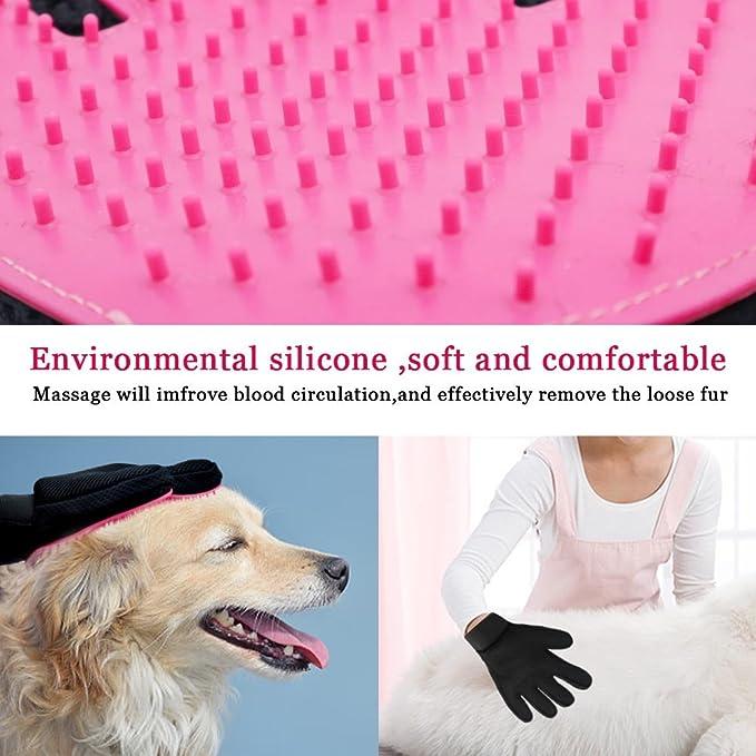 Freefa cuidado mascota guantes, mascota Peine Cepillo de masaje guante de baño para largo y de pelo corto perros, gatos, conejos, caballos, ...