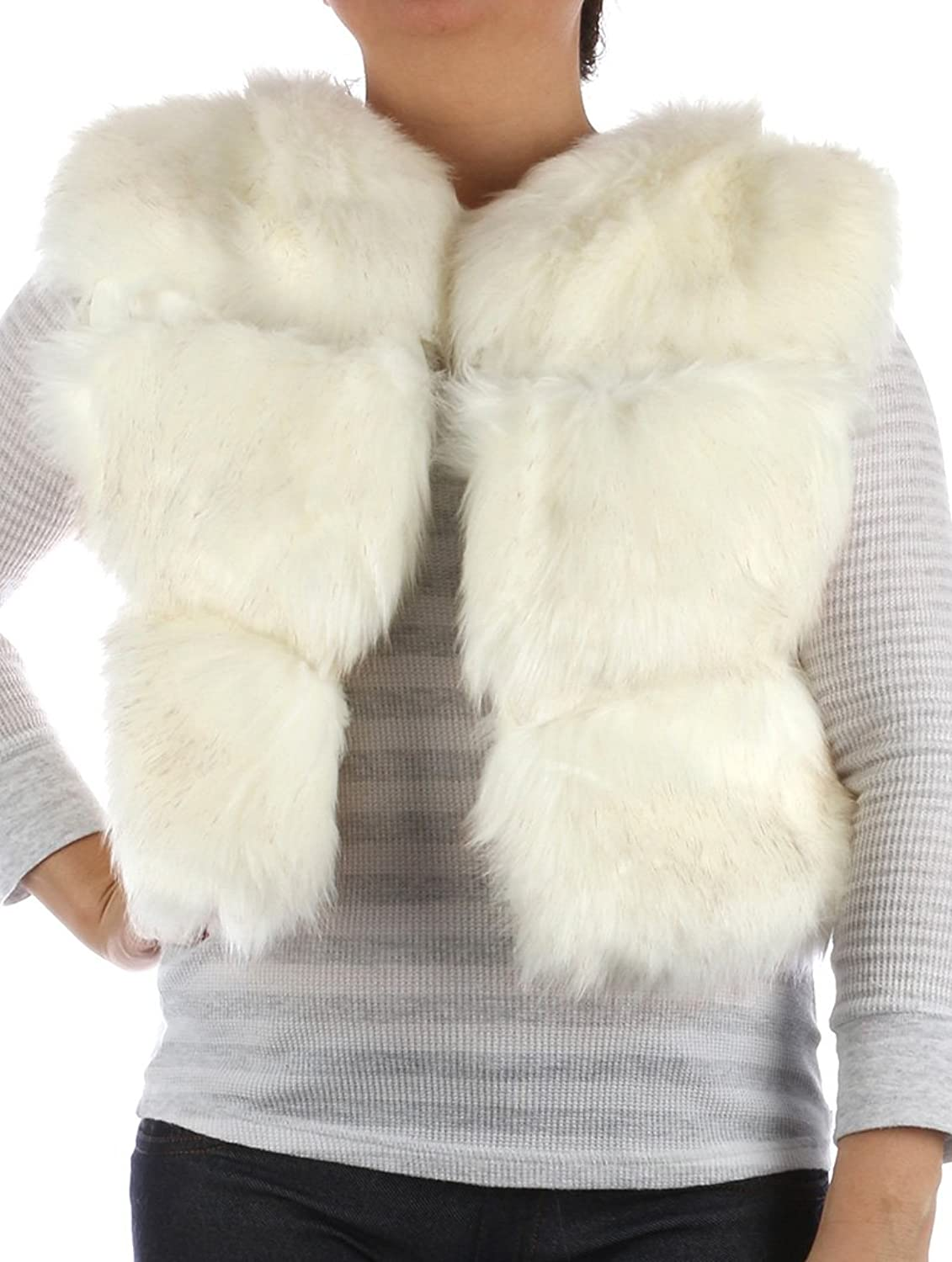 Parisian Chic Scarf Russian Style Ribbed Soft Fur Vest Hook Closure X Acrylic Large White