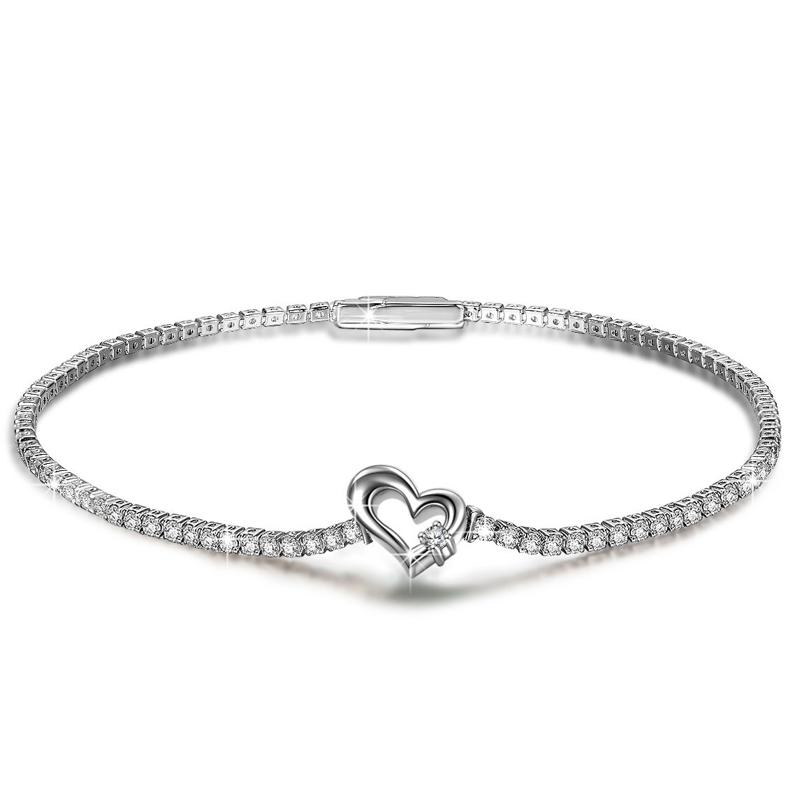 PN PRINCESS NINA Bracelet Gifts for Women for Her Sterling Silver CZ Crystal Bracelet Tennis Jewelry Birthday Gift for Wife