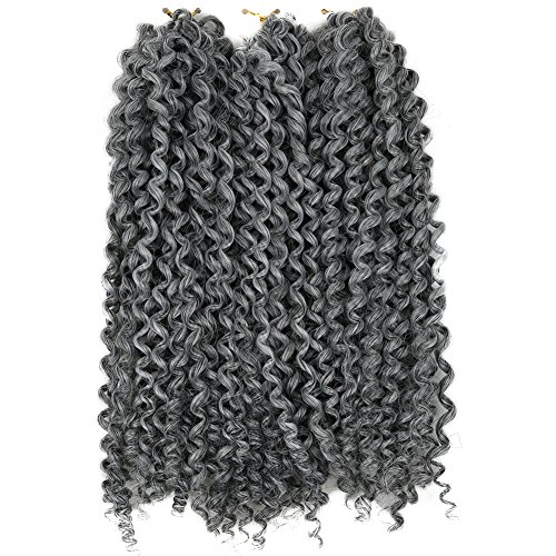 Lady Miranda Pure Color Afro kinky Curly Braiding Hair Extensions Jerry Curl Crochet Hair 3X Braid Hair Short Synthetic Hair Styles (Gray)