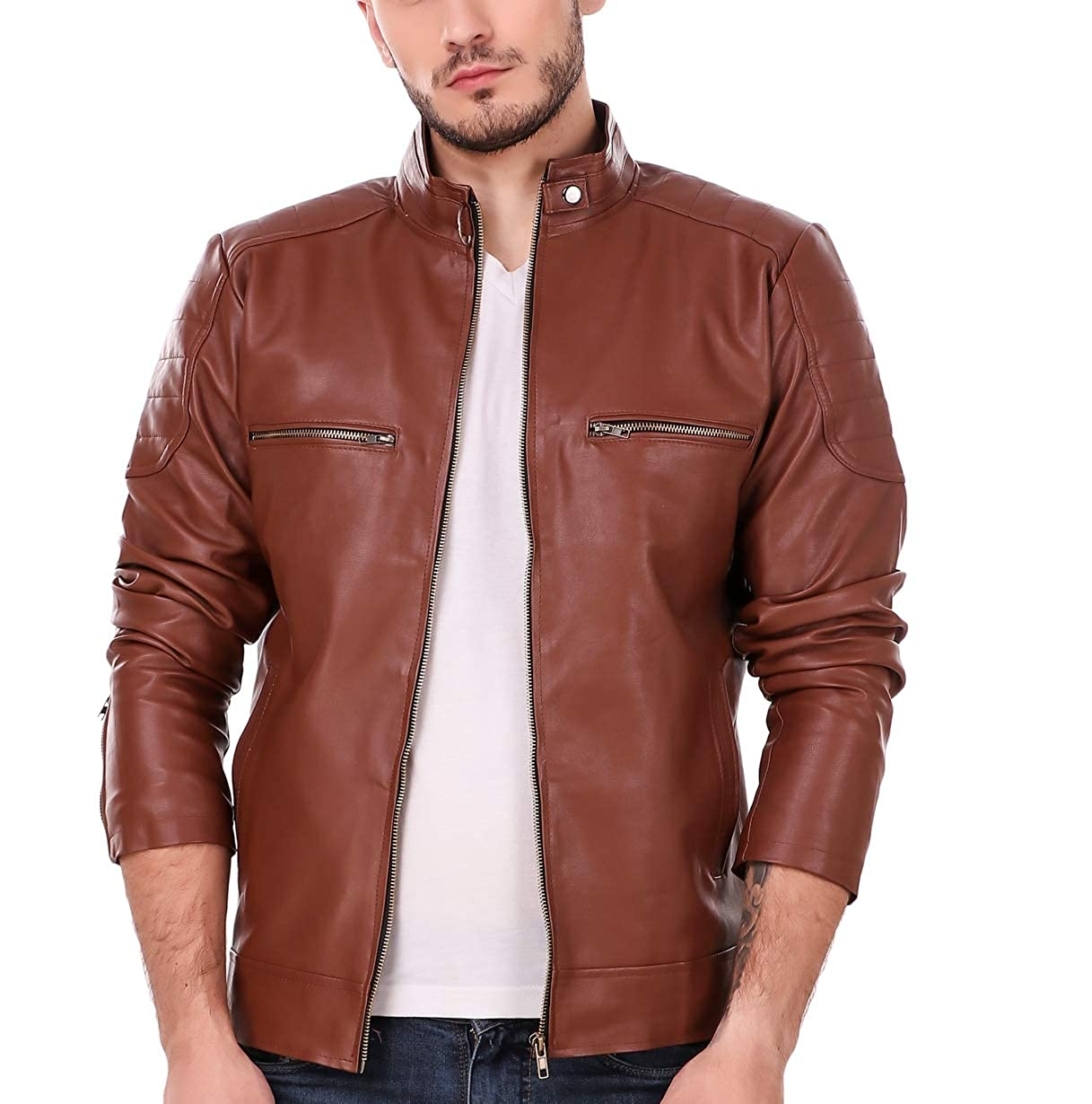 Buy Leather Retail Tan Solid Biker Jacket For Man At Amazon In