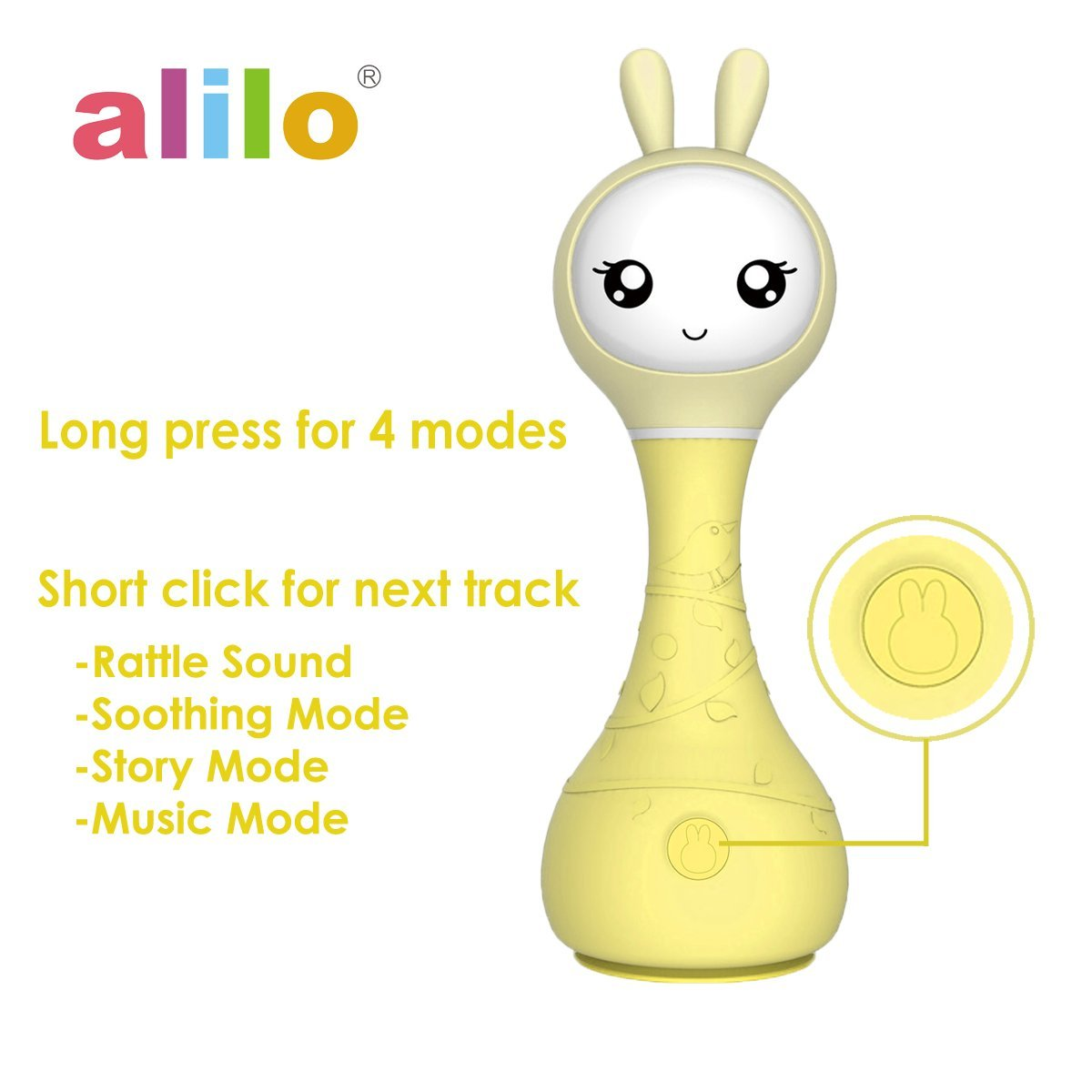alilo Smarty Bunny Shake n Rattle Musical Toy for Kid//Baby//Toddler with Color Identifier Yellow R1Yellow01