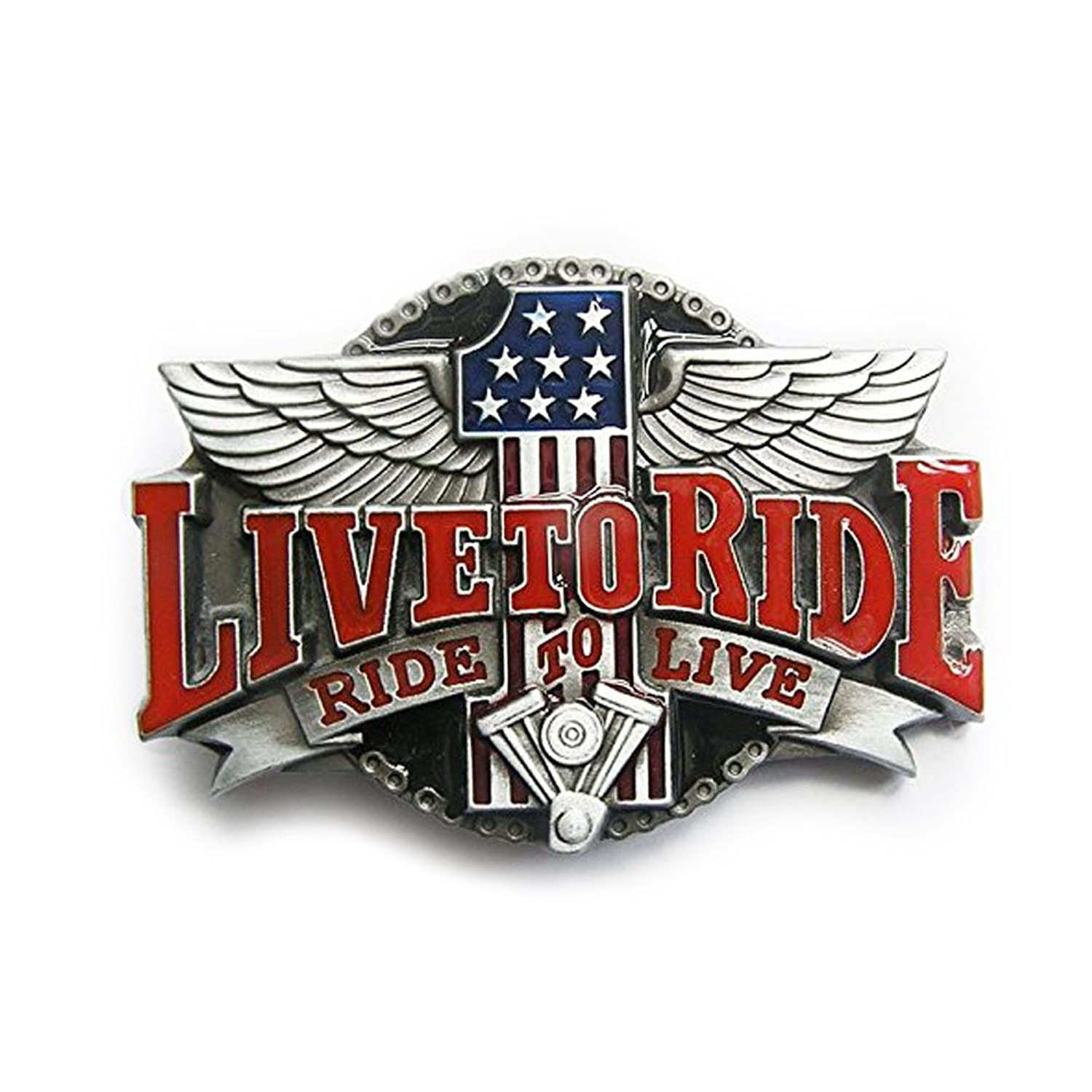 eeddoo® Gürtelschnalle - #1 Live to Ride - Ride to Live (Buckle für Wechselgürtel für Damen und Herren | Belt Frauen Männer Oldschool Rockabilly Metall Gothic Wave Rock Biker Western Trucker)